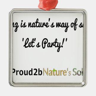 Ornement Carré Argenté Slogan 1 des soldats de la nature