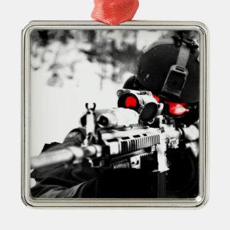 Ornement Carré Argenté Sniper Art