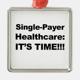 Ornement Carré Argenté Soins de santé simples de débiteur - il est temps