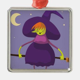 Ornement Carré Argenté Sorcière de Cutie avec le balai Halloween