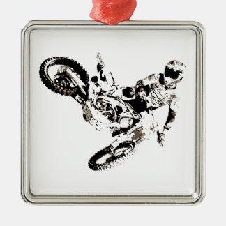Ornement Carré Argenté Sport de Motorcyle de motocross d'art de bruit