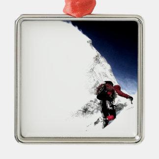 Ornement Carré Argenté Sports d'extrémité de grimpeur de montagne