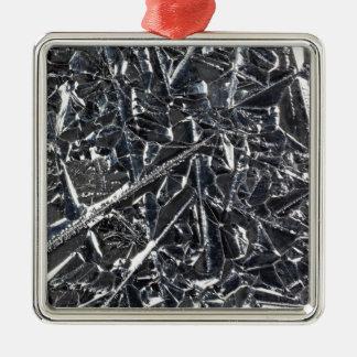 Ornement Carré Argenté Surface des cristaux purs de silicium