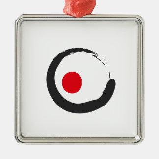 Ornement Carré Argenté Sushi Zen Minimalist Icon