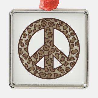 Ornement Carré Argenté Symbole de paix de léopard