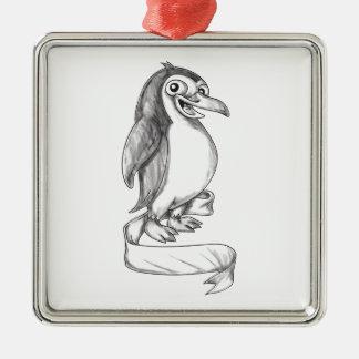 Ornement Carré Argenté Tatouage de côté de ruban de pingouin