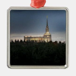 Ornement Carré Argenté temple de l'Utah de lds de montagne d'oquirrh
