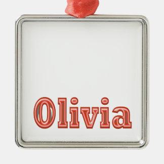 Ornement Carré Argenté Texte de nom de fille d'OLIVIA