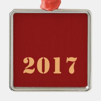 Ornement Carré Argenté Texte editable de modèle de 2017 bonnes années