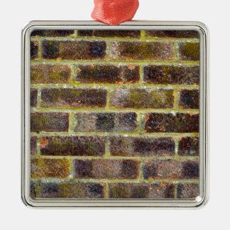 Ornement Carré Argenté Texture de mur de briques