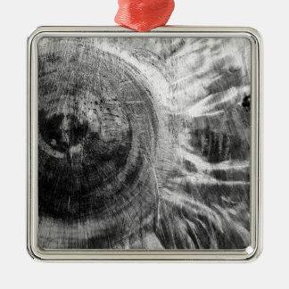 Ornement Carré Argenté Texture en bois noire et blanche