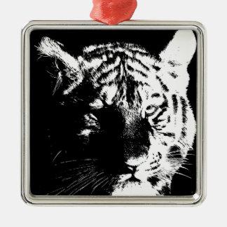 Ornement Carré Argenté Tigre noir et blanc d'art de bruit