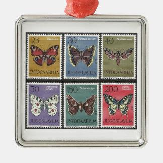 Ornement Carré Argenté Timbres-poste de papillon