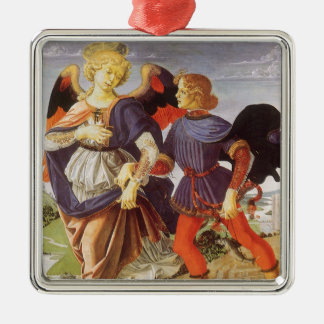 Ornement Carré Argenté Tobias et l'ange par Andrea del Verrocchio