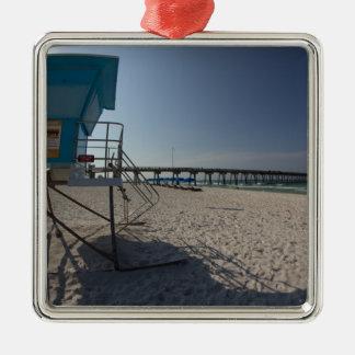 Ornement Carré Argenté Tour de maître nageur au pilier de plage de Panamá