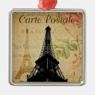 Ornement Carré Argenté Tour Eiffel