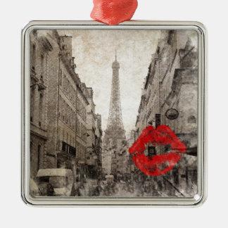 Ornement Carré Argenté Tour Eiffel chic minable de Paris de baiser rouge