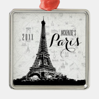 Ornement Carré Argenté Tour Eiffel de Paris ajoutent votre nom