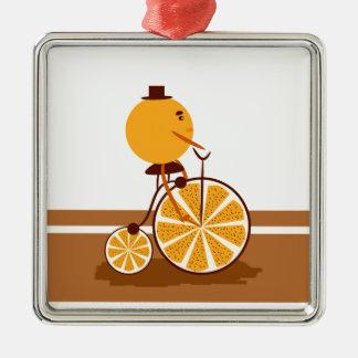Ornement Carré Argenté Tour orange