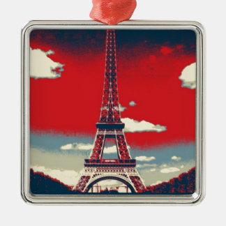 Ornement Carré Argenté tour vintage de la France Paris Effiel de rétro