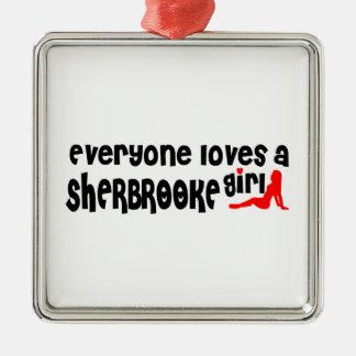 Ornement Carré Argenté Tout le monde aime une fille de Sherbrooke