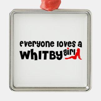 Ornement Carré Argenté Tout le monde aime une fille de Whitby