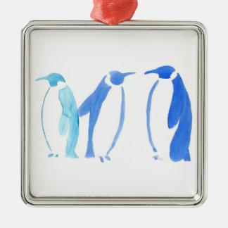 Ornement Carré Argenté Trio bleu de pingouin