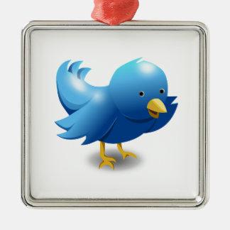 Ornement Carré Argenté Twitter bird logo