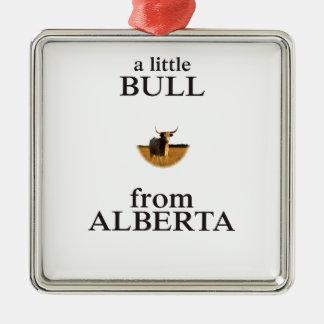 Ornement Carré Argenté Un petit Taureau d'Alberta