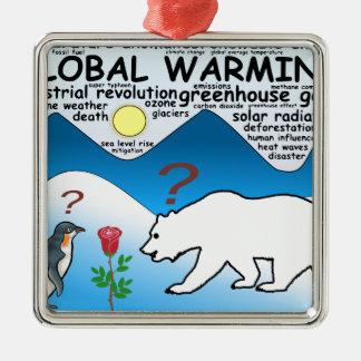 Ornement Carré Argenté Un rose dans l'Arctique qui est réchauffement