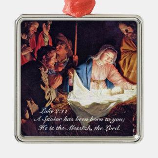 Ornement Carré Argenté Un sauveur a été Luc né 2, nativité de Noël