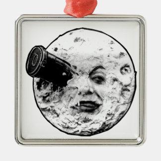 Ornement Carré Argenté Un voyage à la lune