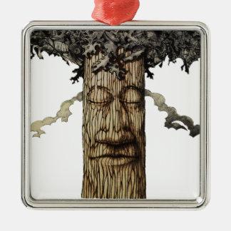 Ornement Carré Argenté Une couverture puissante d'arbre