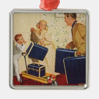 Ornement Carré Argenté Vacances de famille vintages, valises d'enfants de