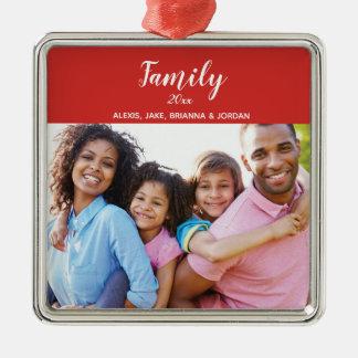 Ornement Carré Argenté Vacances de fête de photo de famille
