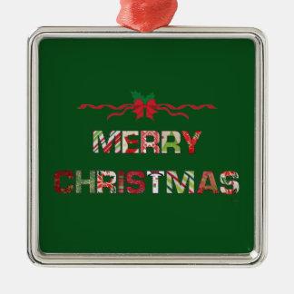 Ornement Carré Argenté Vacances vintages de Joyeux-Noël