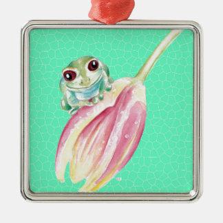 Ornement Carré Argenté Vert de Froggy