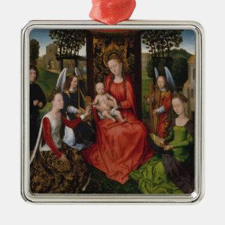 Ornement Carré Argenté Vierge et enfant avec des saints Catherine de