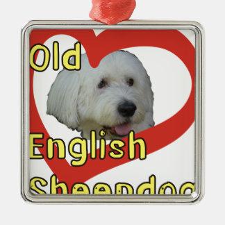 Ornement Carré Argenté Vieux chien de berger anglais