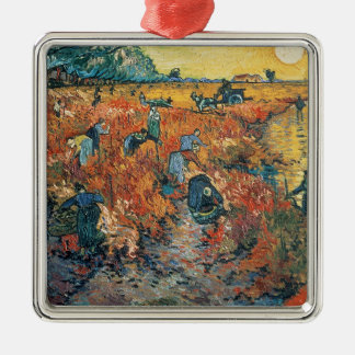 Ornement Carré Argenté Vignobles de rouge de Vincent van Gogh | chez