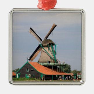 Ornement Carré Argenté Village néerlandais de moulin à vent, Hollande 3