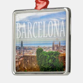 Ornement Carré Argenté Ville de Barcelone