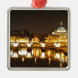 Ornement Carré Argenté Ville du Vatican, Rome, Italie la nuit