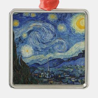 Ornement Carré Argenté Vincent van Gogh   la nuit étoilée, juin 1889