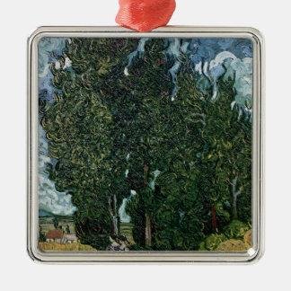 Ornement Carré Argenté Vincent van Gogh | les cyprès, c.1889-90