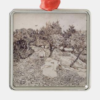 Ornement Carré Argenté Vincent van Gogh | les oliviers