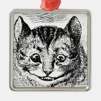 Ornement Carré Argenté Visage de chat de Cheshire