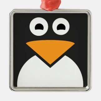 Ornement Carré Argenté Visage de pingouin