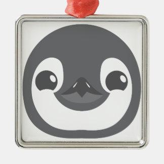 Ornement Carré Argenté visage de pingouin de bébé