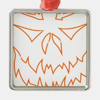 Ornement Carré Argenté visage d'ensemble de Halloween